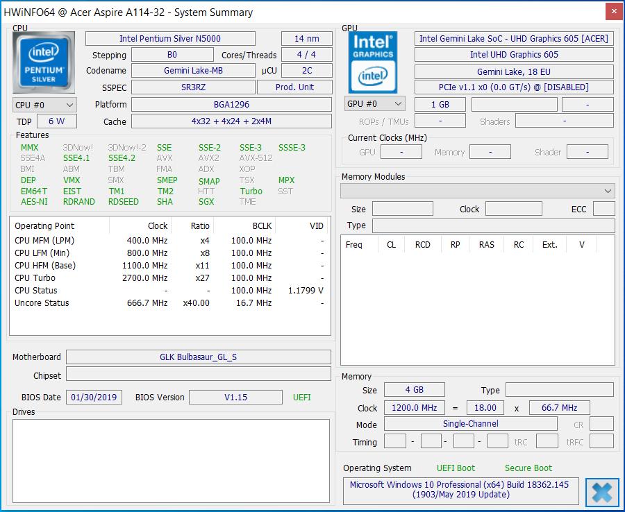 Acer Aspire 1 A114-32 (Pentium Silver N5000, eMMC, FHD