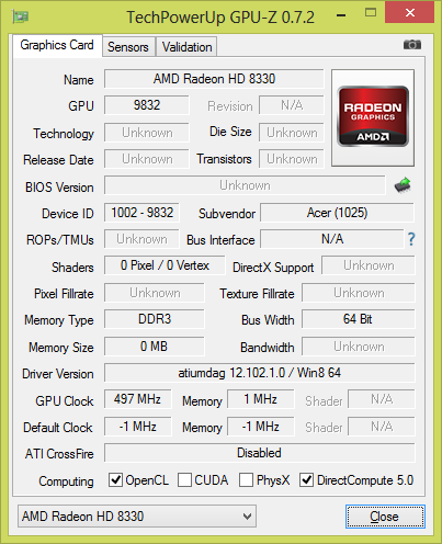 Acer Aspire ES1-522 AMD Graphics New