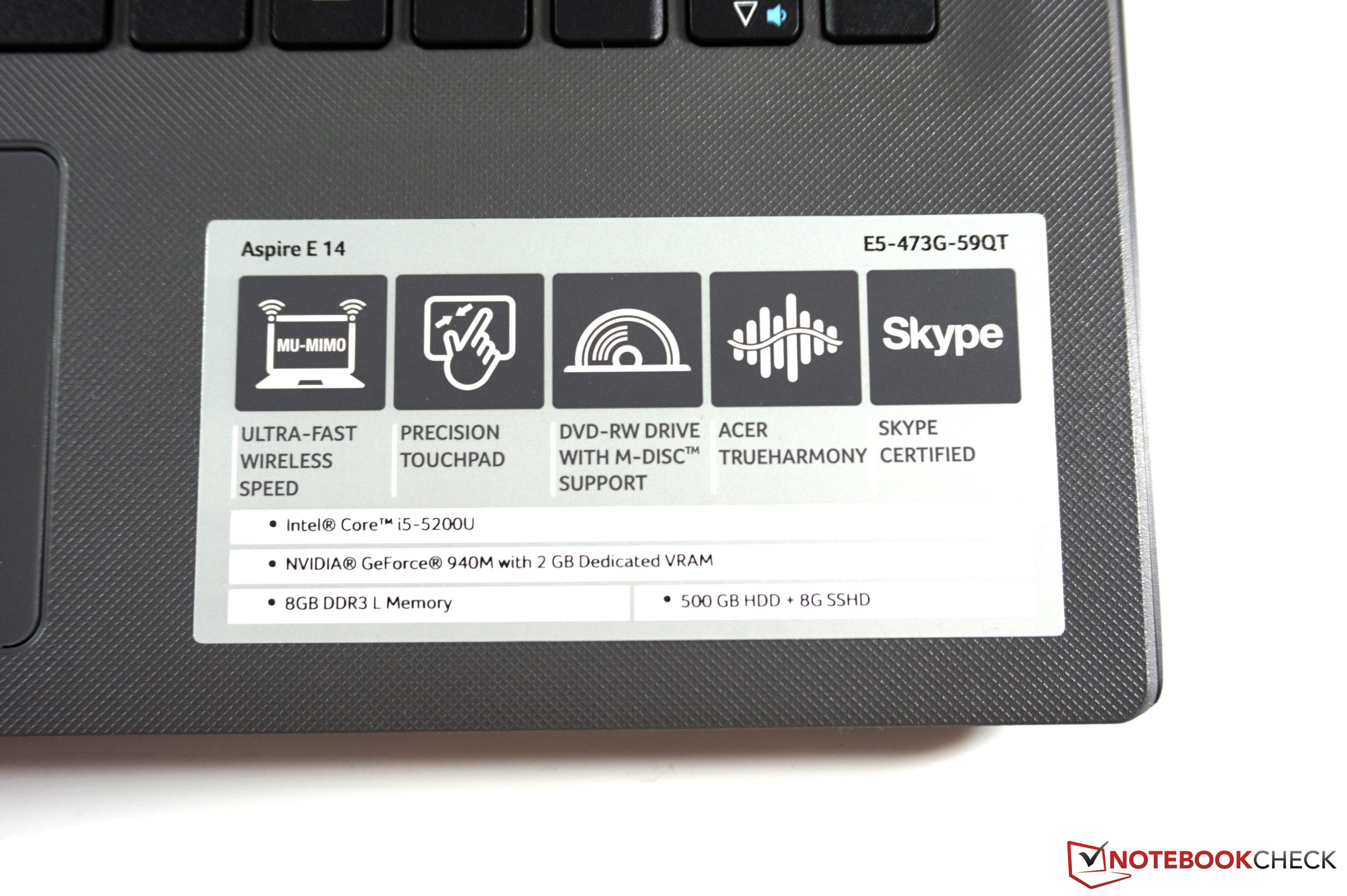 Acer Aspire E5-473G Notebook Review - NotebookCheck.net Reviews