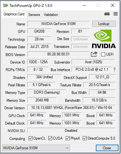 Acer Aspire ES1-731 NVIDIA Graphics 64Bit