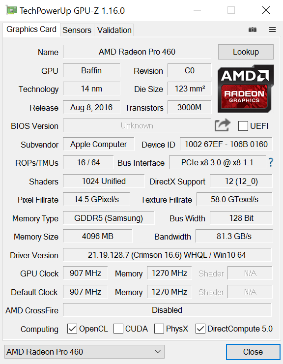 AMD RADEON PRO 460 DRIVER PC