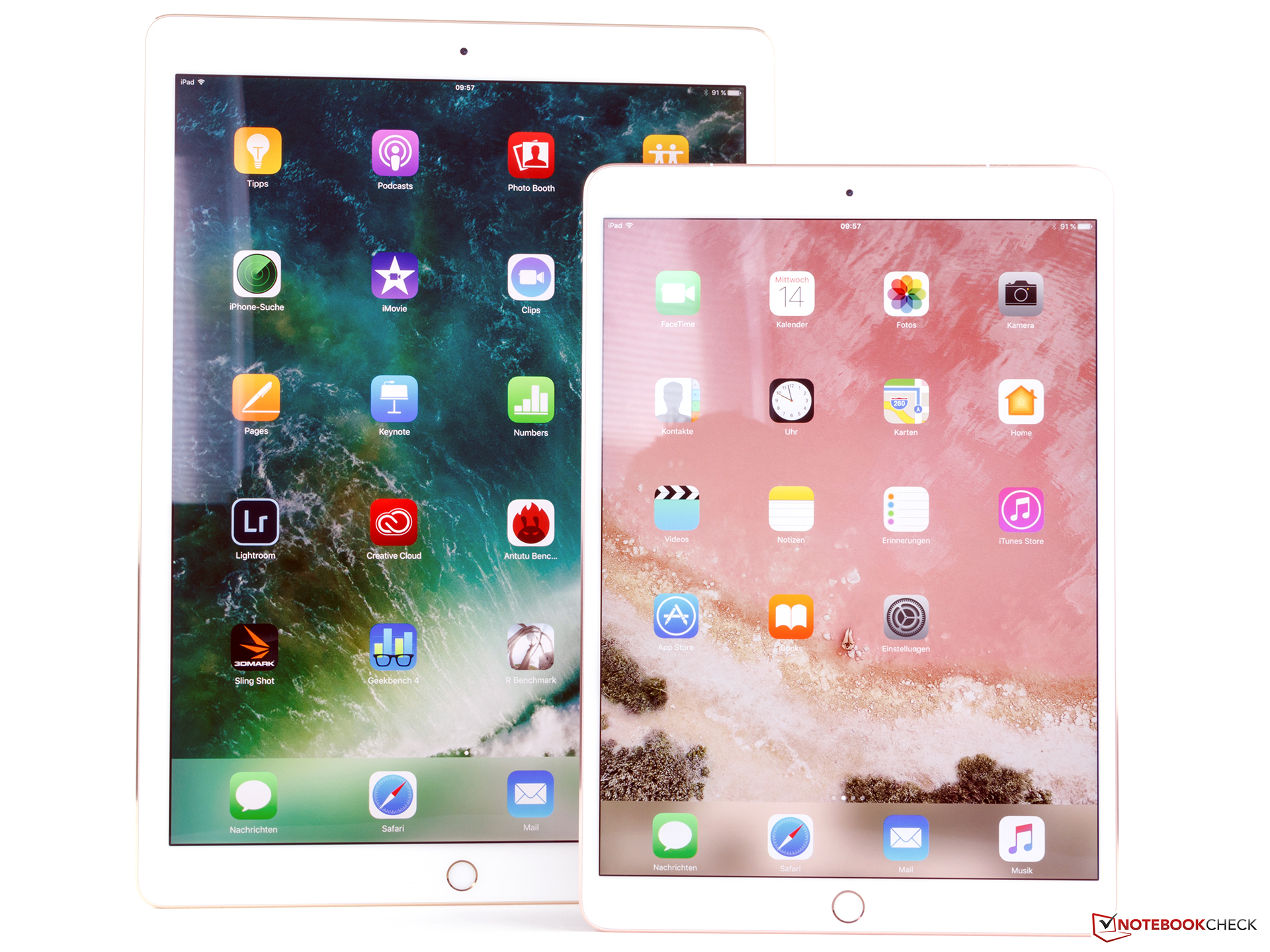 Apple iPad Pro 10.5 (front) and Apple iPad 12.9 (2017) full resolution