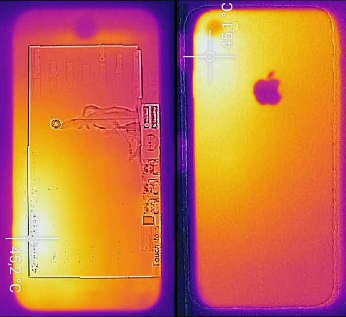 Front and rear measured with the Flir One (second generation). The infrared thermometer showed up to 42 °C.