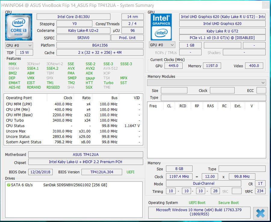 Asus VivoBook Flip 14 TP412UA (i3-8130U, SSD, FHD
