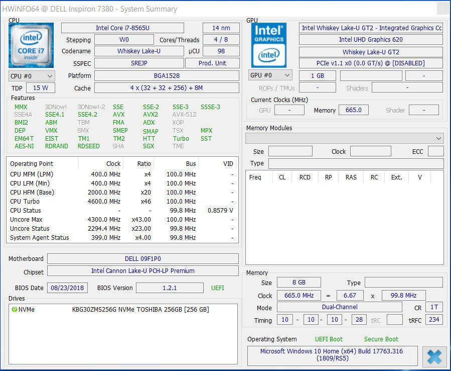 Dell Inspiron 13 7380 (Core i7-8565U, SSD, FHD) Laptop