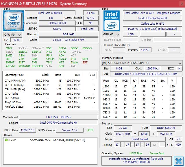 Fujitsu Celsius H780 (i7-8850H, P2000, FHD) Workstation