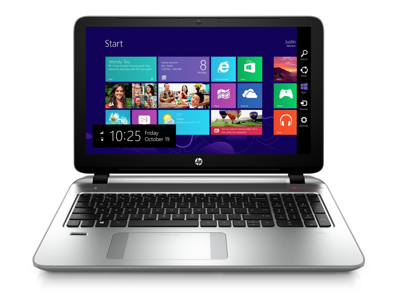 Switch, snap and close apps quickly and easily with the new HP Control Zone™ trackpad. Access ...