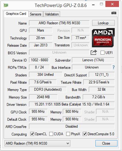Lenovo IdeaPad 305-15 (Core i5-5200U, Radeon R5 M330) Notebook