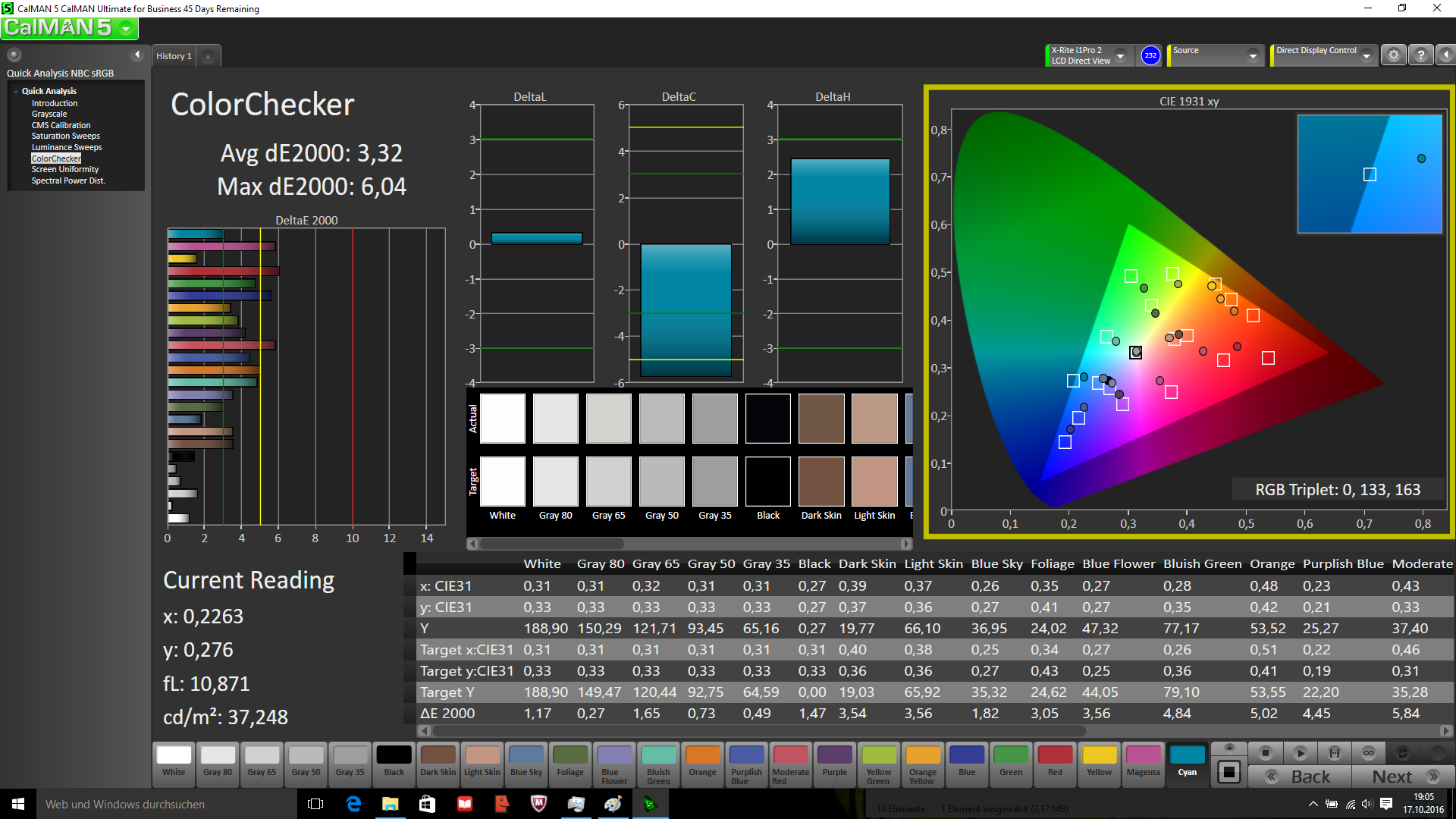 Colors calibrated