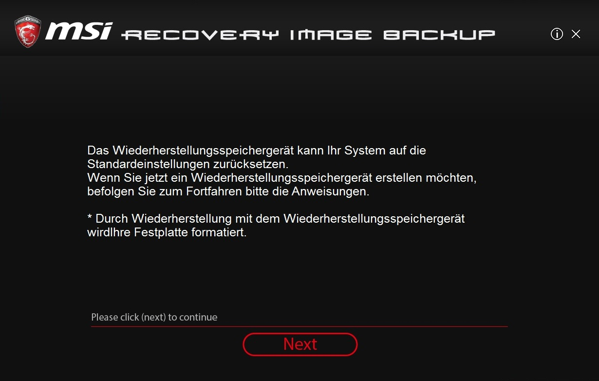 Msi recovery image backup tool download