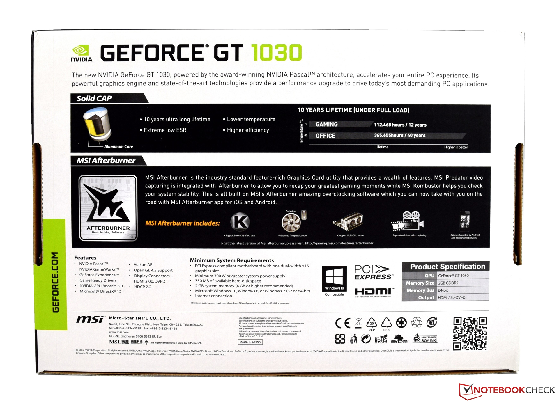 MSI GeForce GT 1030 2GH OC Review - NotebookCheck net Reviews