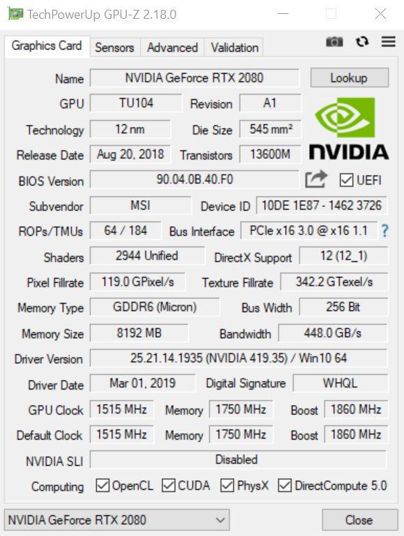 MSI RTX 2080 Gaming X Trio Desktop Graphics Card Review