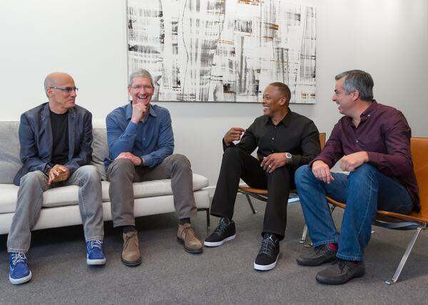 Left-to-Right: Jimmy Iovine, Tim Cook, Dr. Dre, Eddy Cue