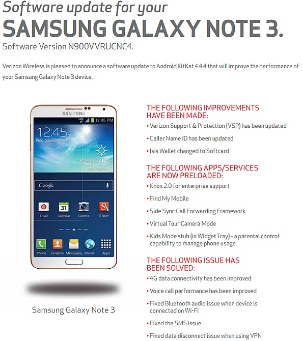 Verizon Galaxy Note 3 receives Android 4 4 4 update - NotebookCheck