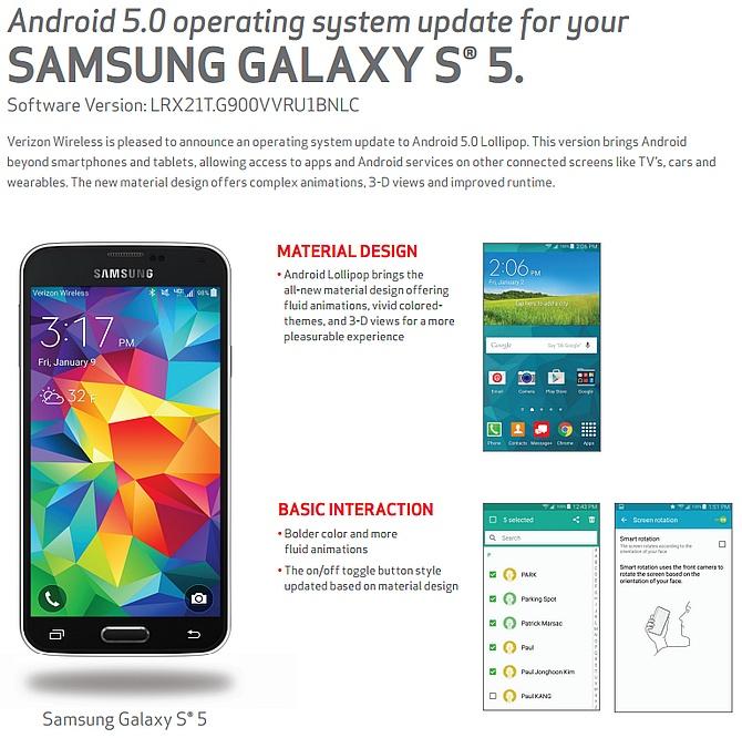 Verizon Galaxy S5 gets Android 5 0 Lollipop update