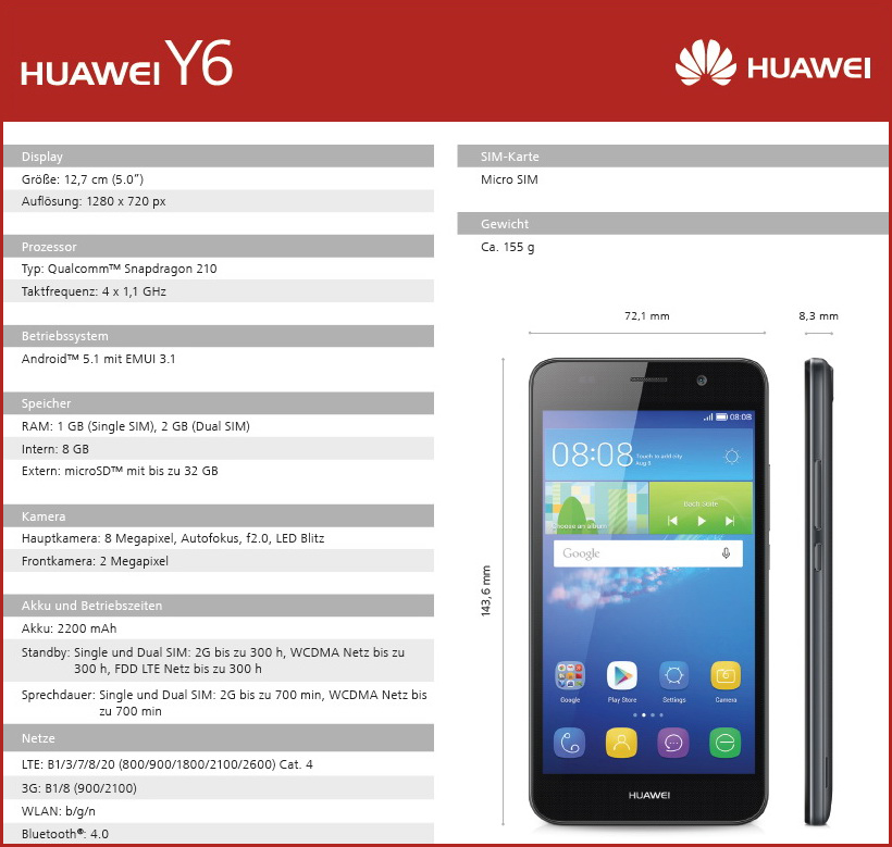 Huawei details y5 and y6 budget smartphones notebookcheck net news