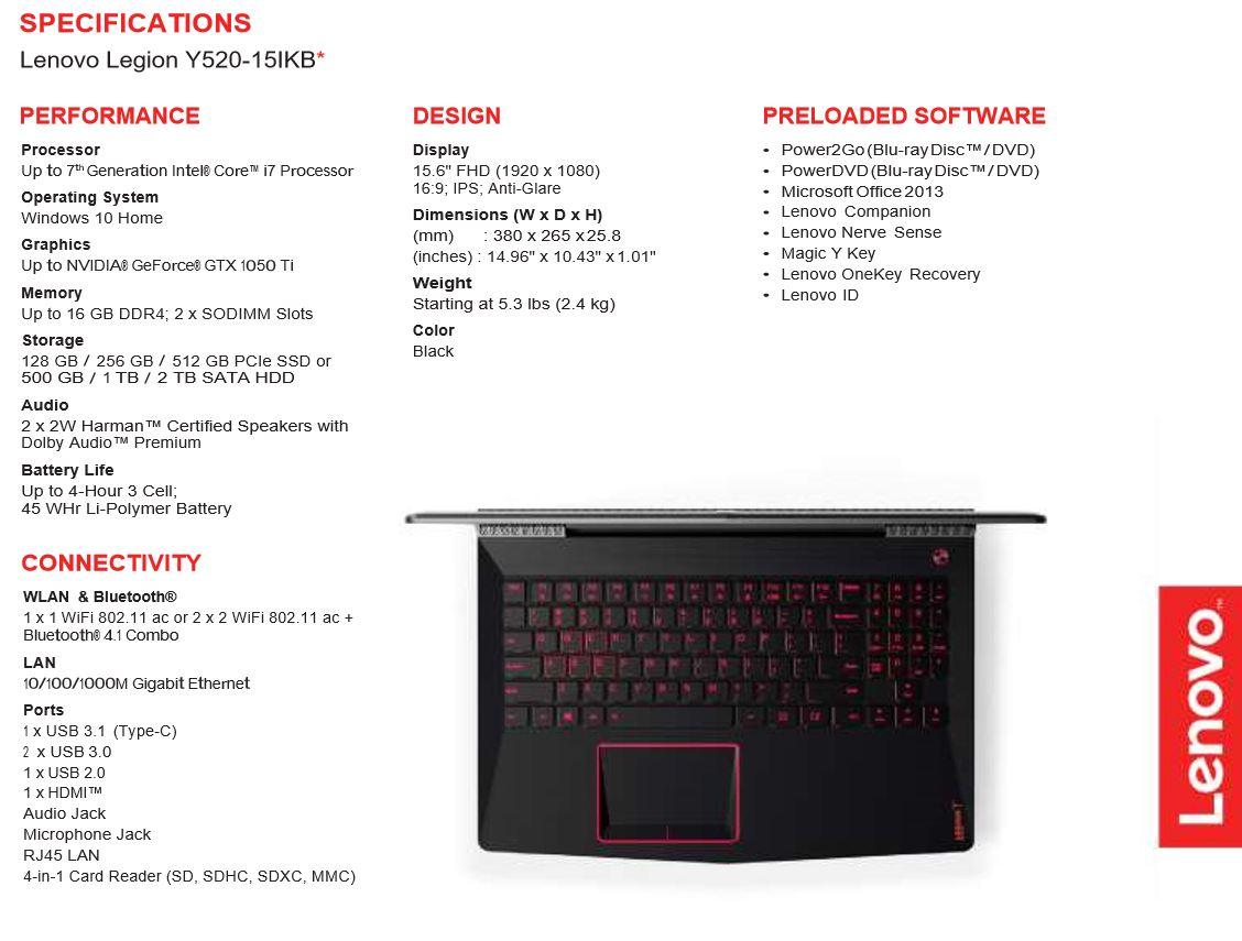 Lenovo Legion Gaming Laptops Announced Legion Y520