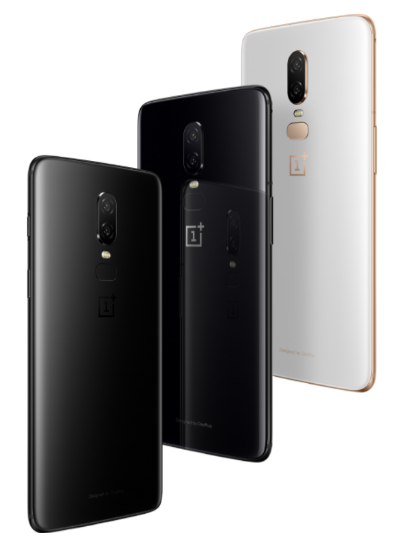 The OnePlus 6. From left to right: Midnight Black, Mirror Black, and Silk White. (Source: OnePlus)