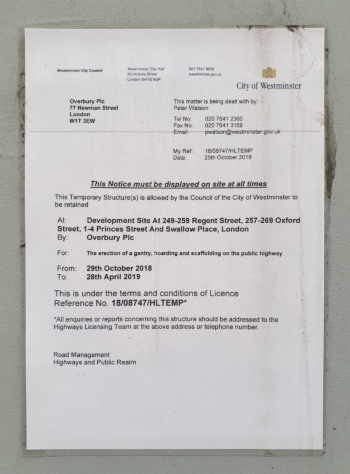 The planning notice currently displayed outside the storefront (Source: Own)