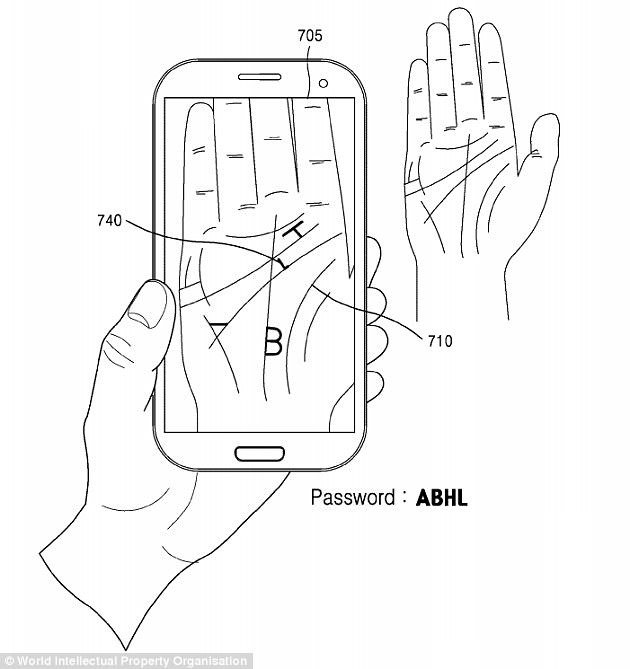 How the characters of a password would be embedded in the image of the users' palm. (Source: Samsung)