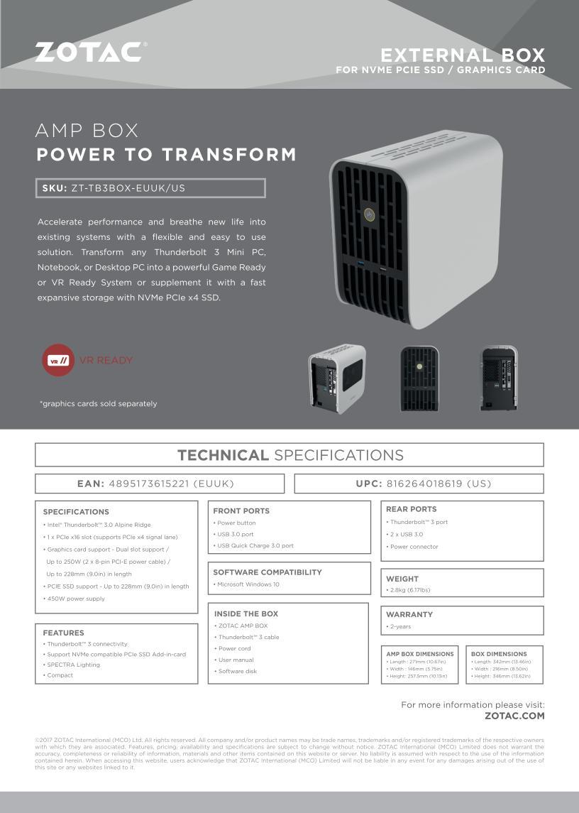 Zotac Amp Box eGPU dock promises compatibility with any Thunderbolt