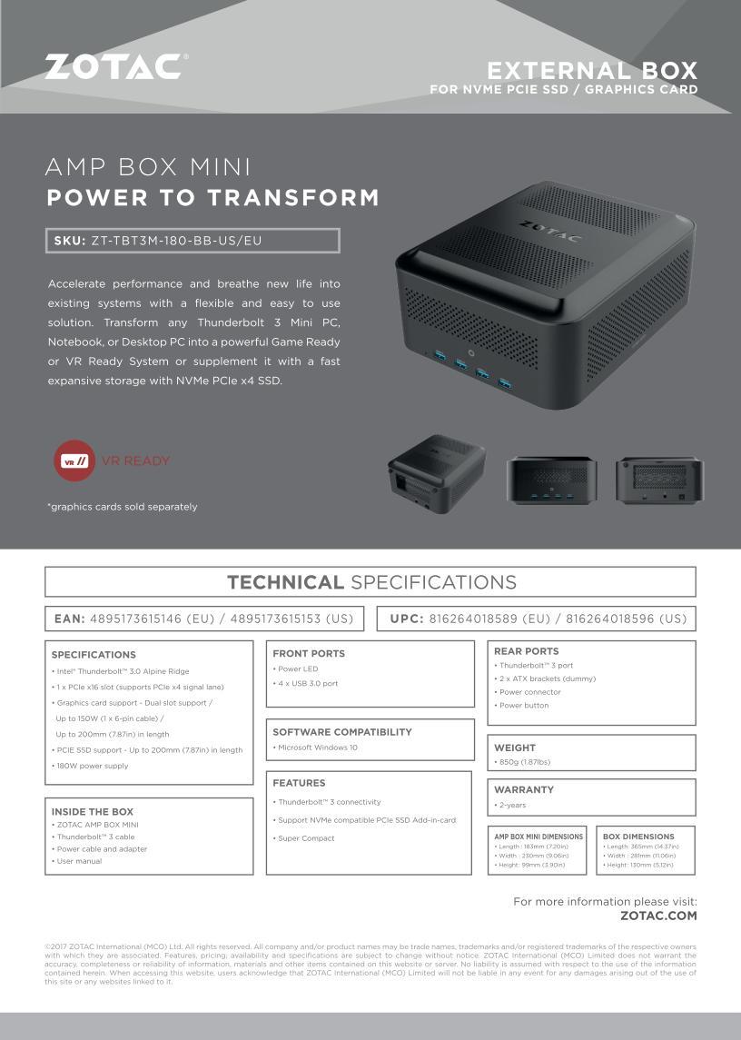 Zotac Amp Box eGPU dock promises compatibility with any