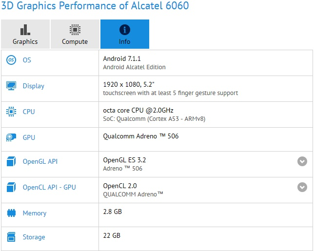 Alcatel 6060 - Idol 5 details spotted on GFXBench