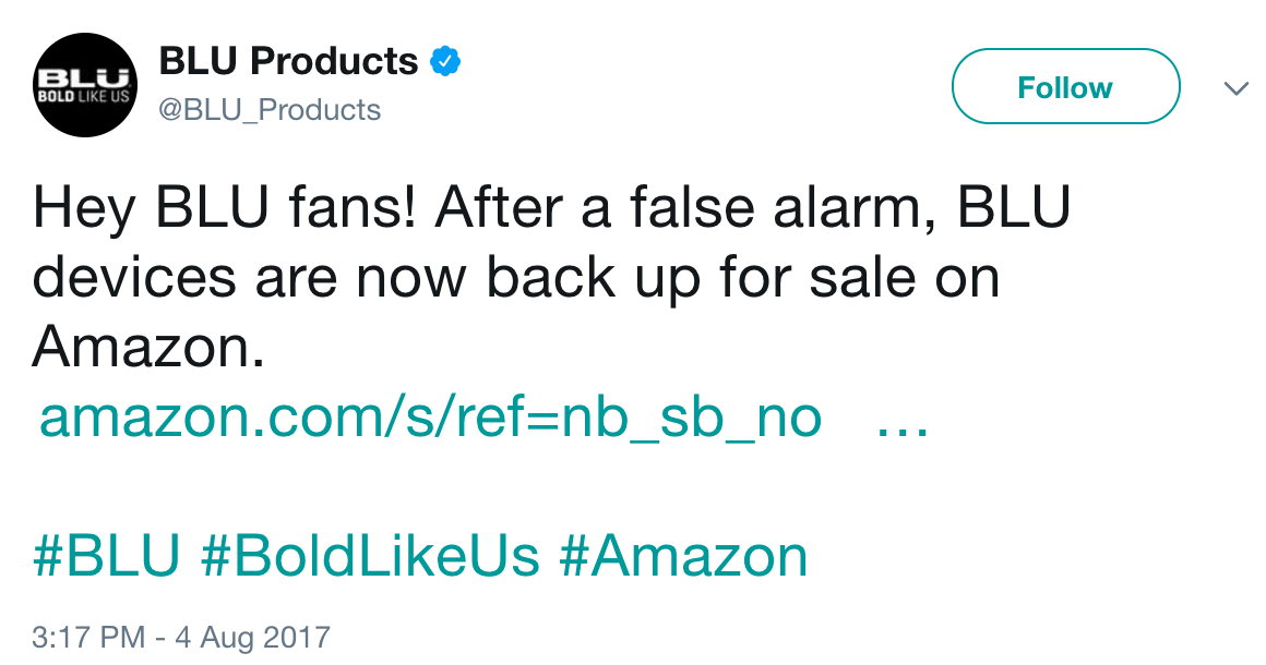 Amazon Relists BLU Smartphones After 'False Alarm'