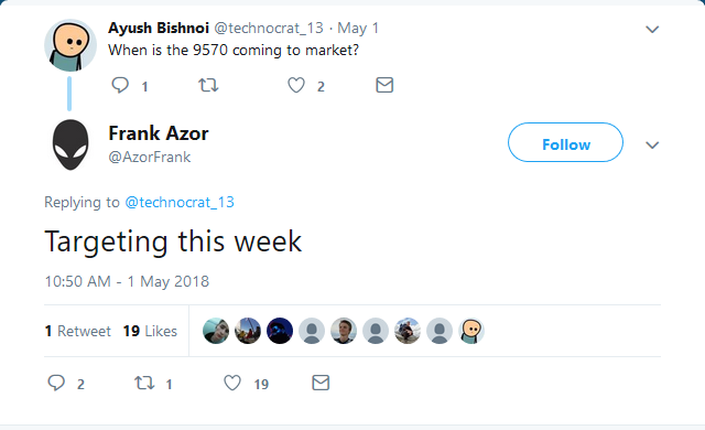 The XPS 15 9570 could be available for purchase anytime this week. (Source: Frank Azor on Twitter)