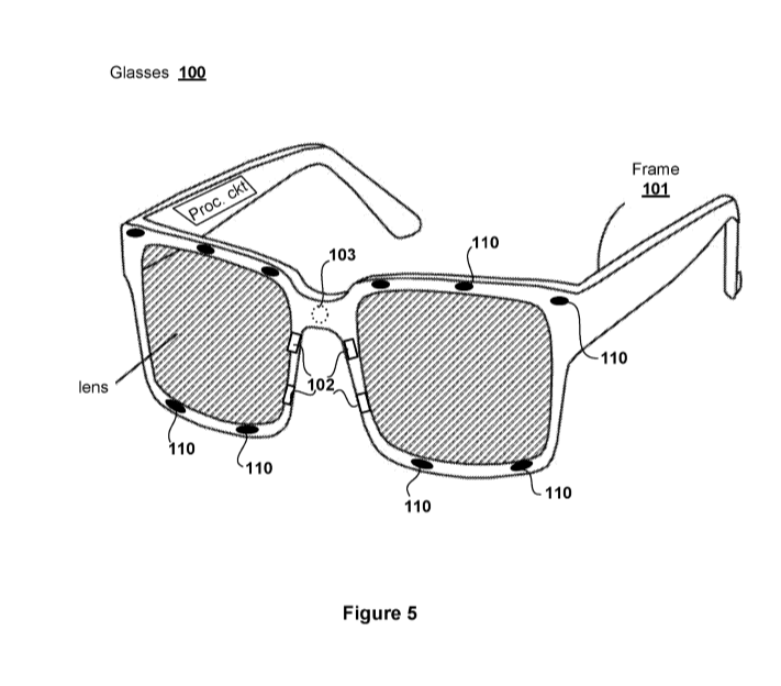 A look at the glasses that will supposedly track your eye movements (Image source: US Patent and Trademark Office)
