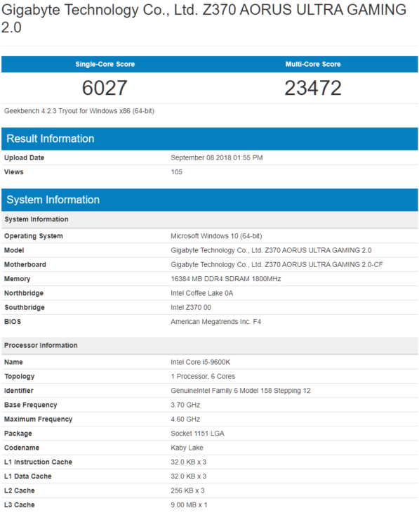 Core i9-9600K results (Source: Geekbench)