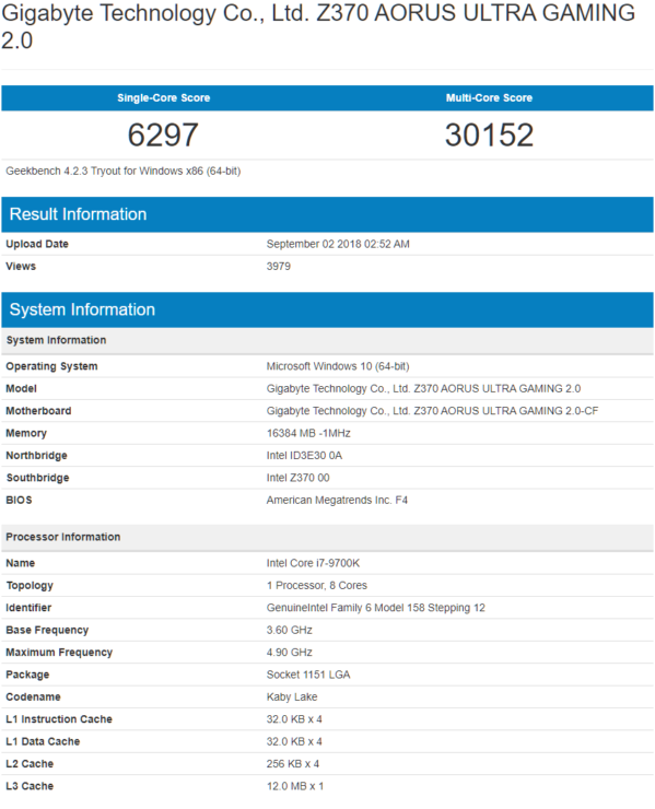 Core i9-9700K results (Source: Geekbench)