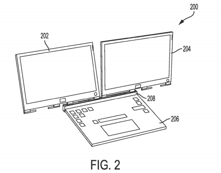 Dell's patent stipulates that multiple displays could be attached to the laptop body via a magnetic hinge system, and the second display could act as the bottom cover. (Source: USPTO)