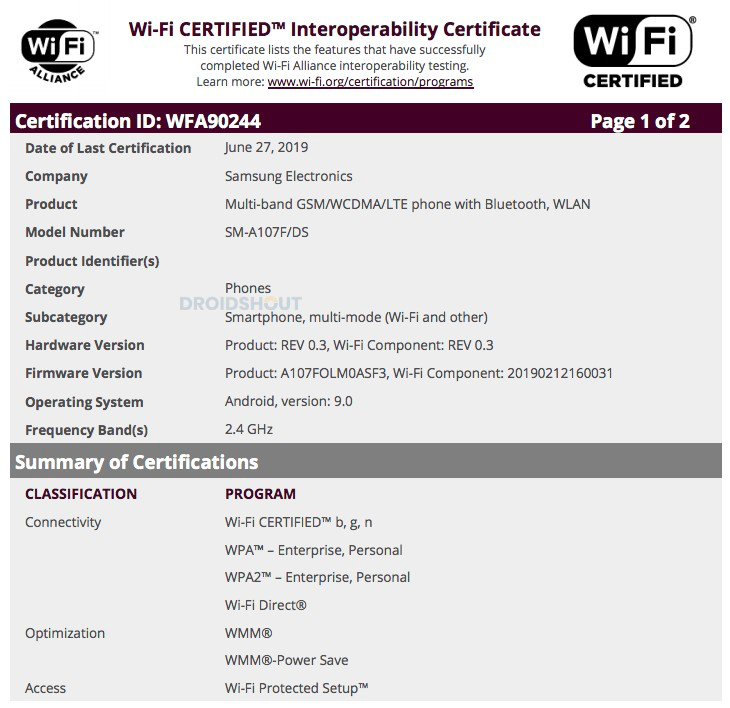 The purported Wi-Fi certification for the SM-A107F. (Source: DroidShout)