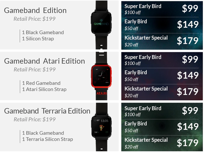 "The Gameband comes in three different versions, or ""Editions,"" that each support different games. (Source: Gameband Kickstarter)"