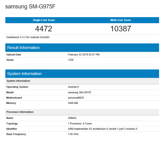 The Geekbench scores for the SM-G975F. (Source: Geekbench)