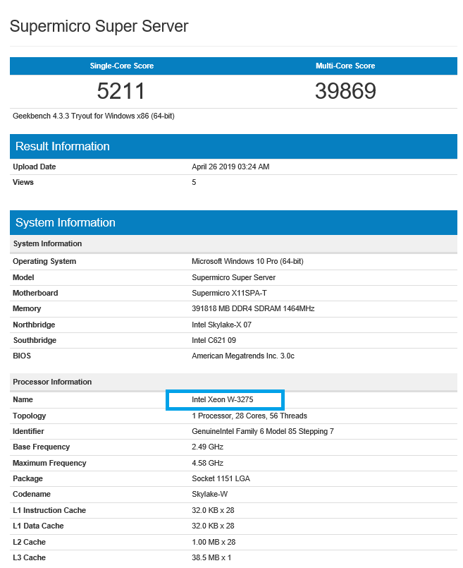 Geekbench entry for Supermicro Super Server. (Image source: Geekbench)