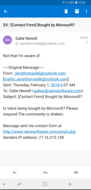 Gabe Newell's response to rumors of a Microsoft acquisition. (Source: ResetEra Forums)