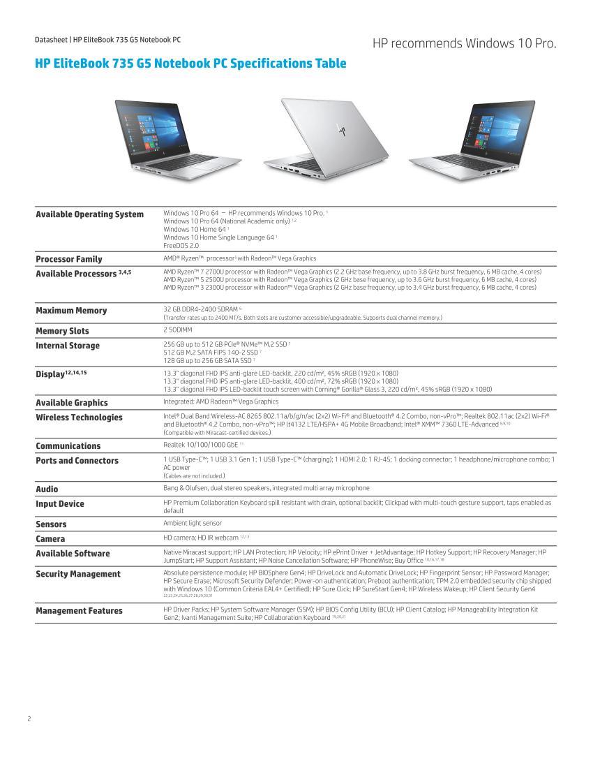 HP EliteBook 735/745/755 G5 and ProBook 645 G4 launching