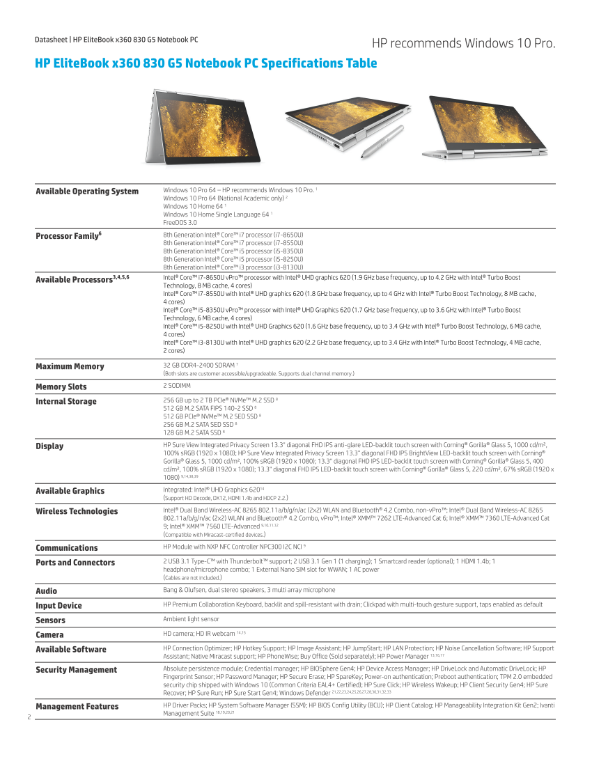 hp elitebook 830 g5/ct notebook p
