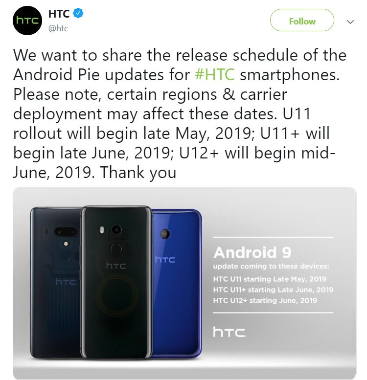 The HTC U11, U11+, and U12+ are finally set to receive Android Pie