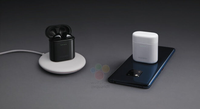 The purported Huawei earphones, in a case and on a phone. (Source: WinFuture)