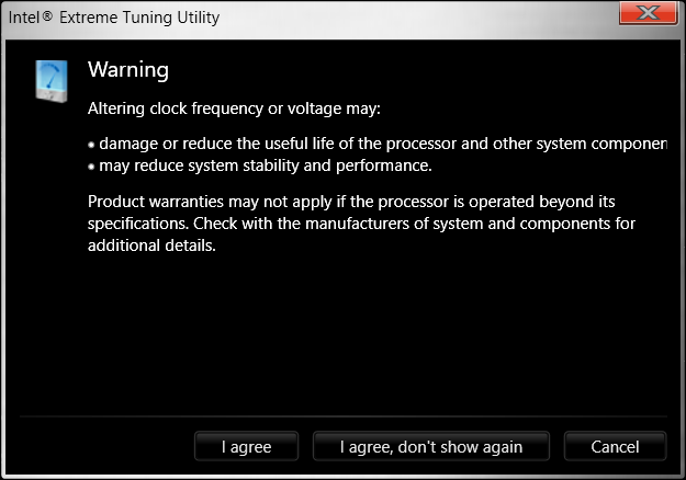 Intel Extreme Tuning Utility full screenshot