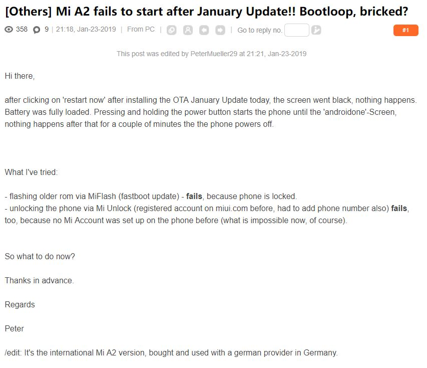 Mi A2 users have reported multiple cases of bricked phones