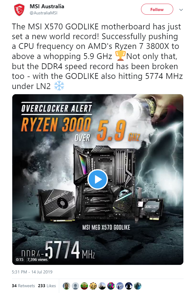 AMD Ryzen 7 3800X pushed to 5 9 GHz along with DDR4 RAM at