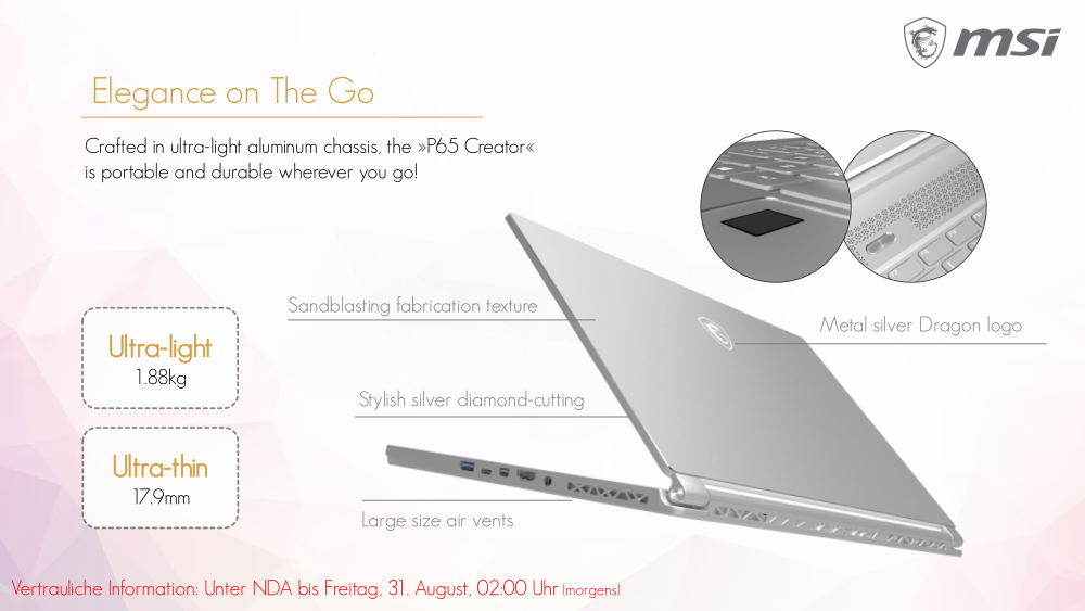 MSI P65 Creator is the business-oriented version of the GS65
