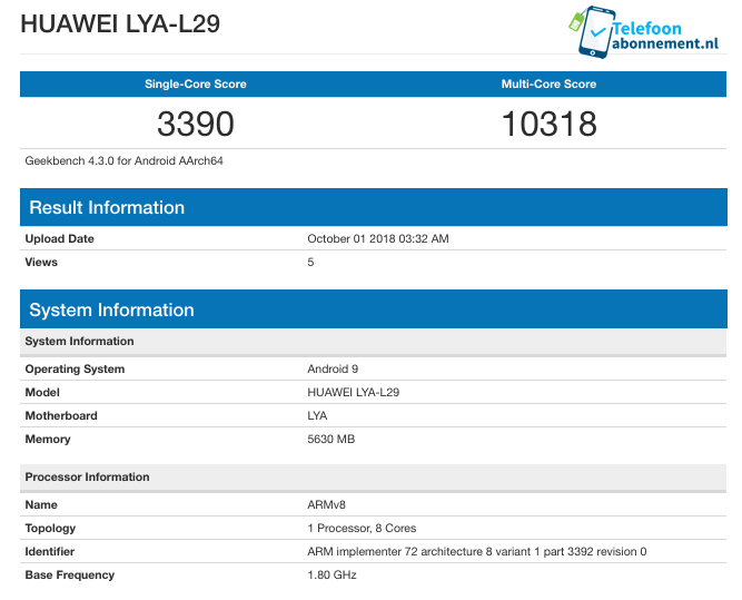 Geekbench results for the Huawei LYA-L29 (Source: TelefonAbonement.nl)