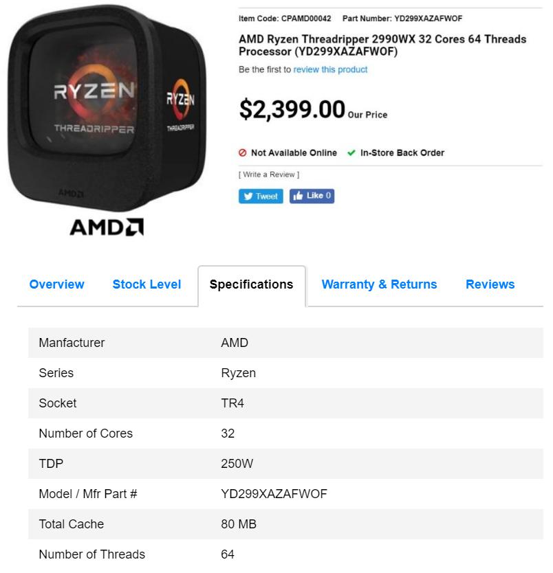 AMD Ryzen Threadripper 2990X gets listed online for US$1835