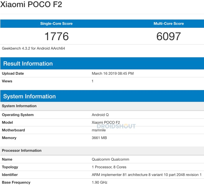 Xiaomi Poco F2 listing on Geekbench. (Source: Droidshout)