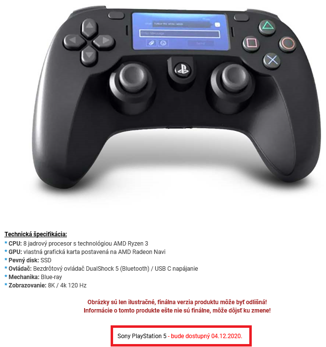 "Release date with old image of ""leaked"" controller. (Image source: ProGamingShop)"